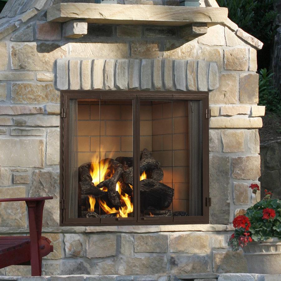 castlewood outdoor fireplace door color