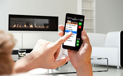 intelli fire touch cellphone fireplace app