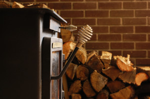 simple side fireplace wood