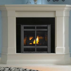 fireplace insert blue grille fire